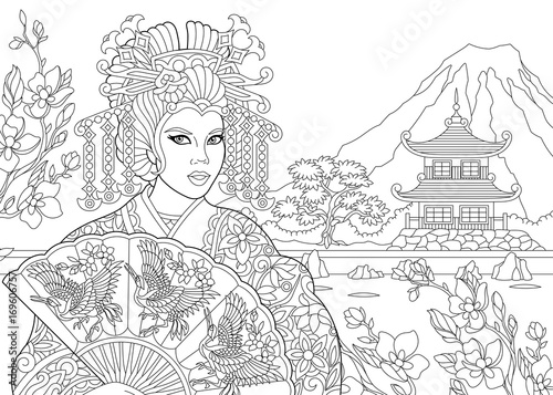 Coloring Page Of Geisha Japanese Dancing Actress With Pagoda And Cherry Blossom On The