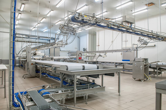 Machinery production cutting large quantities of meat