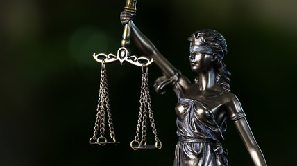 Legal law concept image. The Statue of Justice - lady justice or Iustitia