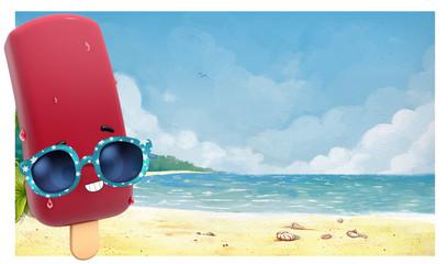 helado con gafas de sol en la playa