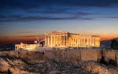 Fototapete - Die Akropolis von Athen nach Sonnenuntergang, Griechenland
