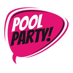 pool party retro speech balloon
