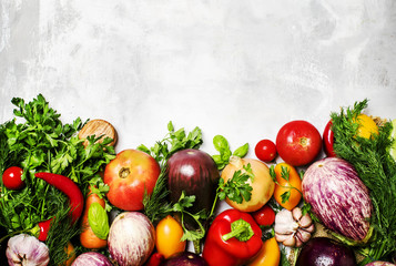 Food background, vegetarian concept, fresh vegetables and herbs, top view