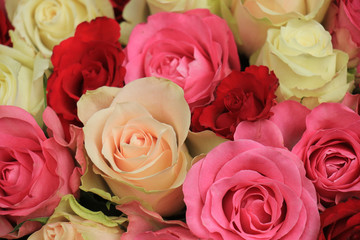 pink mixed wedding roses