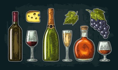 Set drinks made from grapes. Wine, brandy, champagne