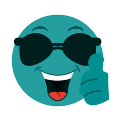 happy thumb up  emoji with sunglasses  instant messaging  icon image vector illustration design