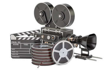 Cinema concept. Clapperboard with film reels and movie camera, 3D rendering