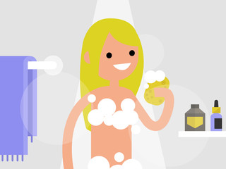 Young female character taking a shower in a bathroom. flat editable vector illustration, clip art