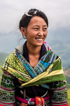 Smiling young woman from Hmong tribe, Vietnam
