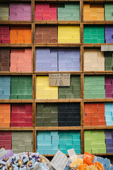 Colorful stacks of bar soap in France