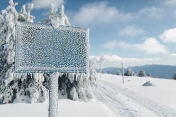Frozen signboard