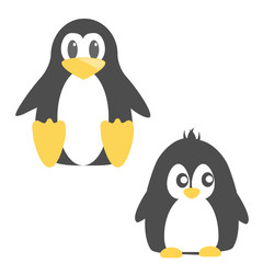 Abstract cute angry cartoon pinguin isolated on a blue background. Funny penguin image.