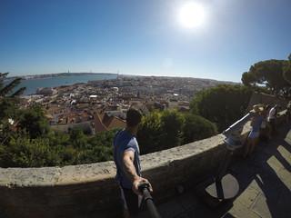 Guy Taking a Selfie in Alfama, Lisbon, Portugal