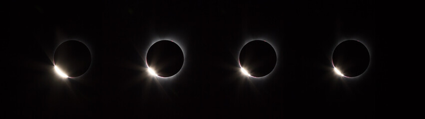 Four versions of the diamond ring phase of solar eclipse Salem, Oregon 2017