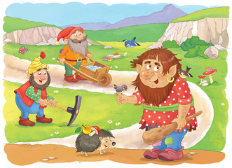 Cute dwarfs and a troll. Fairy tale characters. Coloring page. Illustration for children