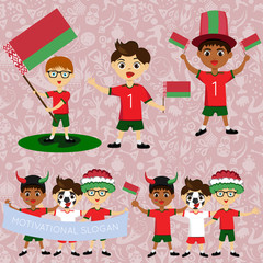 Set of boys with national flags of Belarus. Blanks for the day of the flag, independence, nation day and other public holidays. The guys in sports form with the attributes of the football team