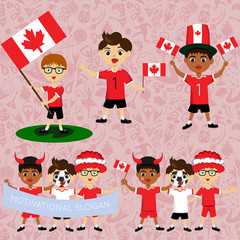 Set of boys with national flags of Canada. Blanks for the day of the flag, independence, nation day and other public holidays. The guys in sports form with the attributes of the football team