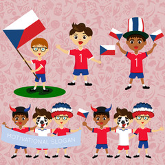 Set of boys with national flags of Czech Republic. Blanks for the day of the flag, independence, nation day and other public holidays. The guys in sports form with the attributes of the football team