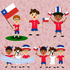 Set of boys with national flags of Chile. Blanks for the day of the flag, independence, nation day and other public holidays. The guys in sports form with the attributes of the football team