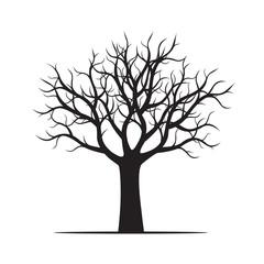 Big Black Tree Vector Illustration.