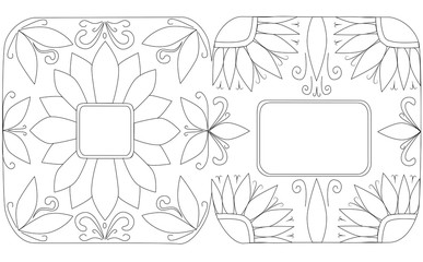 Coloring Greeting card Contour Flowers in the corner