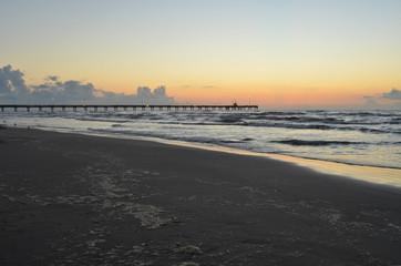 Padre Island beach lighted pier Corpus Christi, Texas