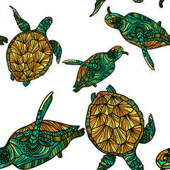 Seamless pattern with turtles. Vector illustration.