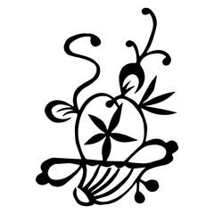 Flower basket.Chinese handwriting folk design symbol