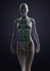 female robot with body color led stripe - 3d rendering