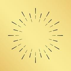 Vector sun burst vintage hand drawn hipster retro clock ray logo. Golden shiny metal texture background