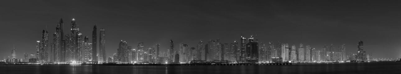 Dubai - The evening panorama of Marina towers.