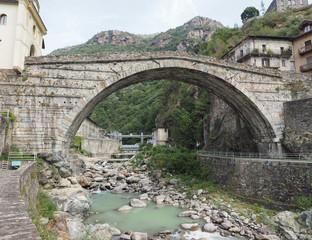Roman bridge in Pont Saint Martin