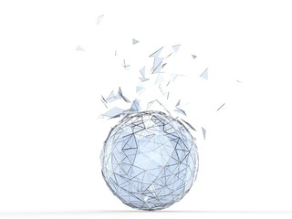 Glass shattering out of the metal frame of the sphere
