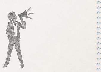 ノートに描いた拡声器で叫ぶ女性のシルエット