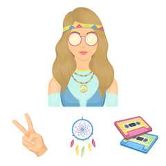 Amulet, hippie girl, freedom sign, old cassette.Hippy set collection icons in cartoon style vector symbol stock illustration web.