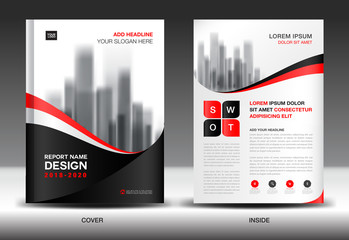 Annual report brochure flyer template, Black cover design, business advertisement, magazine ads, catalog, book, infographics element vector layout in A4 size