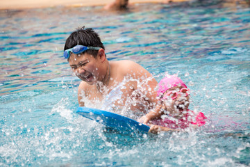 young boy swimming in pool.