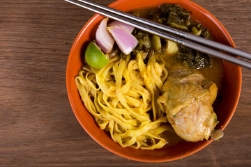 Khao soi, curry noodle with chicken, thai food