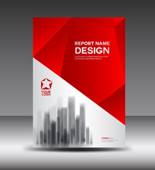 Red and White Cover design Annual report vector illustration, booklet, poster, annual report template, layout in a4 size, polygon background