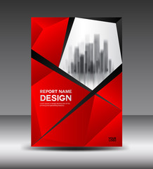 Red Cover design Annual report vector illustration, booklet, poster, annual report template, layout in a4 size, polygon background