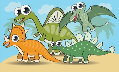Cute cartoon style dinosaurs set. vector illustration