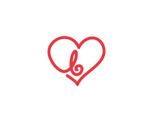 Lowercase Letter b and Heart Logo 1
