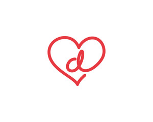 Lowercase Letter d and Heart Logo 1