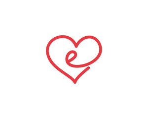 Lowercase Letter e and Heart Logo 1
