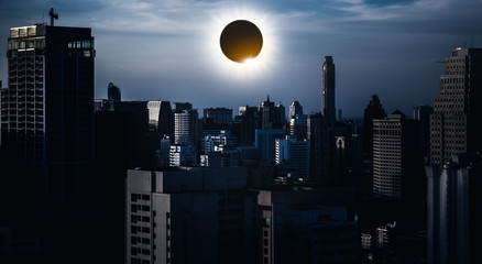 Amazing scientific natural phenomenon. Total solar eclipse glowing on sky.