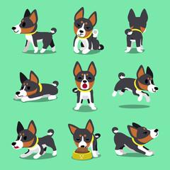 Cartoon character basenji dog poses set