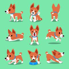 Cartoon character basenji dog poses