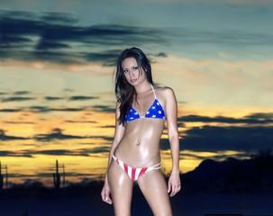 Young woman posing in sexy bikini at sunset