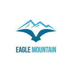 Eagle Hawk Falcon Mountain Bird Flying Logo Template