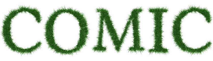 Comic - 3D rendering fresh Grass letters isolated on whhite background.